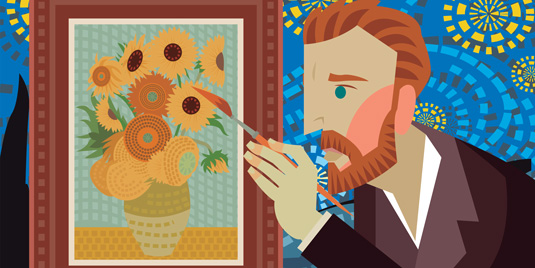 Artistic rendering of Vincent Van Gogh painting his now-famous Sunflowers.