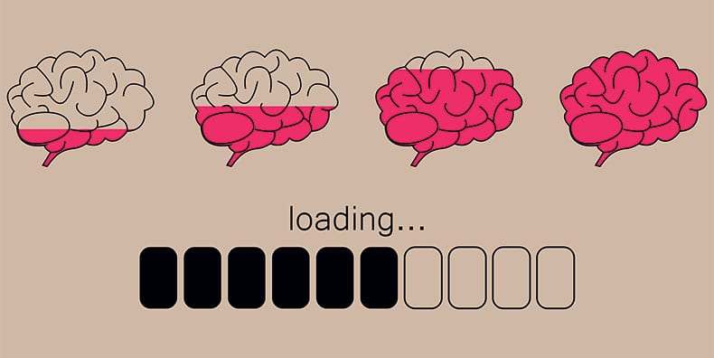 """A series of 4 illustrated brains shows a progression of pink color being filled in from empty to full, moving left to right. Beneath is the word """"loading"""" and a series of bars showing progress as if a computer were loading a program."""