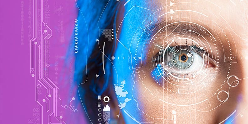 A closeup of a woman's eye, surrounded by juxtaposed scanning imagery. The lighting is sharp and the background is hot pink.