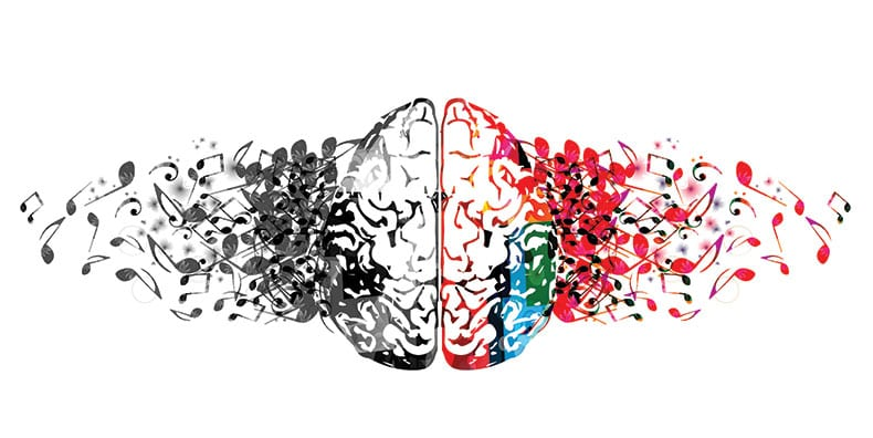 Illustration of left and right sides of brain with music notes in black-and-white or in rainbow colors, representing bipolar disorder and the siren call of mania over depression.