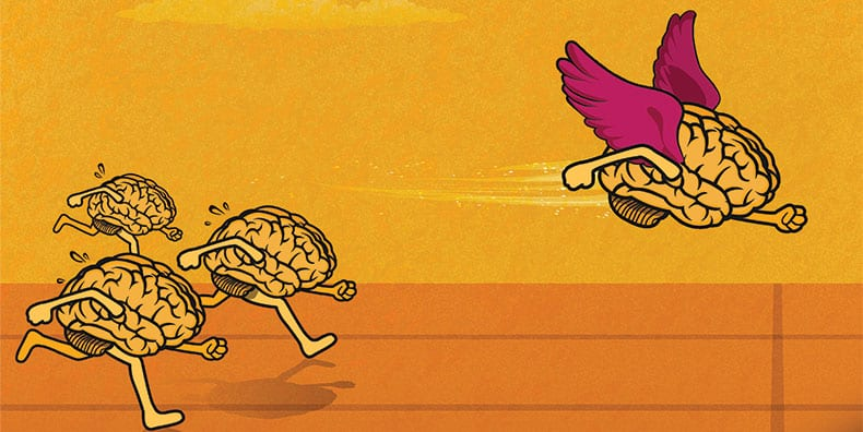 Four cartoon brains are running a race. The one in the lead has wings instead of feet. Represents overcoming anxiety in your brain when living with bipolar.