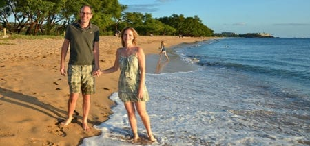 Bipolar couple walking on the beach maintaining healthy relationship and self-care
