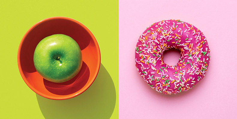 Apple vs sprinkled donut