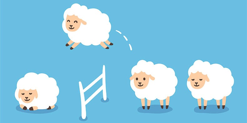 An illustration of fluffy white sheep jumping over a fence. One on the other side is sleeping.