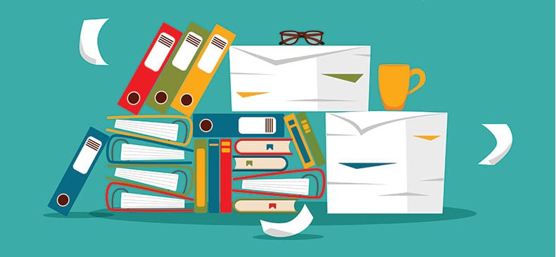 An illustration of office supplies stacked up against a teal background, with a few pieces of paperwork floating about.