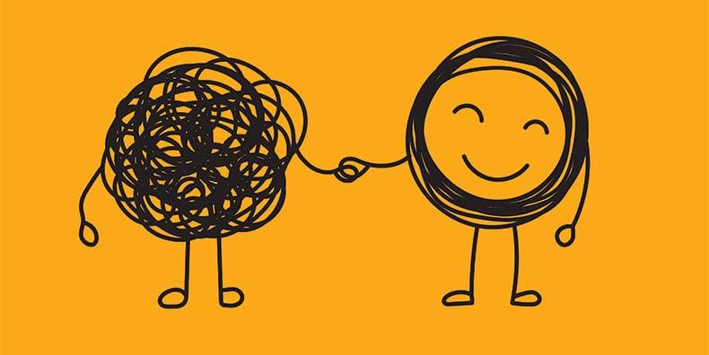 Against a yellow-orange background, two line-drawn figures stand, shaking hands. The figure on the left is a black scribble with legs and arms; the figure on the right is a a thick, smiling circle with arms and legs. The smiling figure seems peaceful and supportive of the scribble friend. Represents changing your negative, angry thoughts into productive, peaceful, positive thoughts with bipolar disorder.