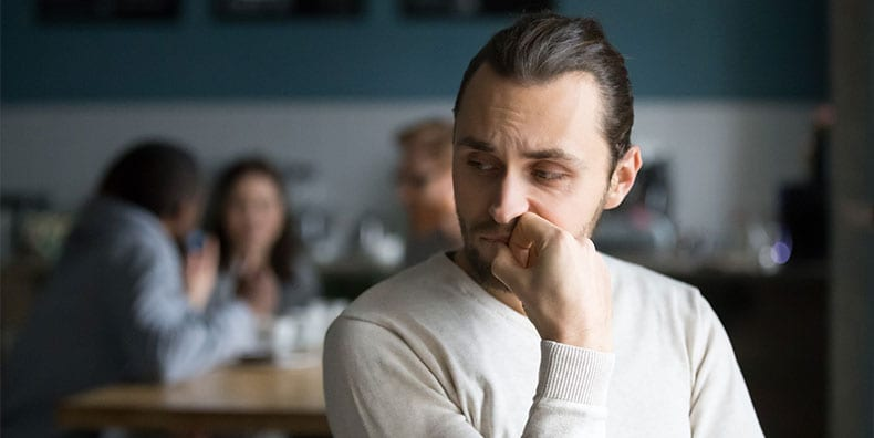 nervous, unsure person is left out because of insecurity bipolar disorder mood management self-worth