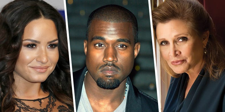 Demi Lovato Kanye West and Carrie Fisher are celebrities with bipolar